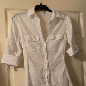 James Perse White Contrast Side Button Down